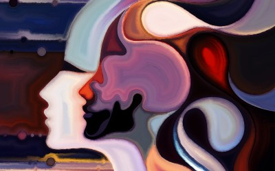 Colors of the Mind series. Composition of elements of human face and colorful abstract shapes suitable as a backdrop for the projects on mind reason thought emotion and spirituality